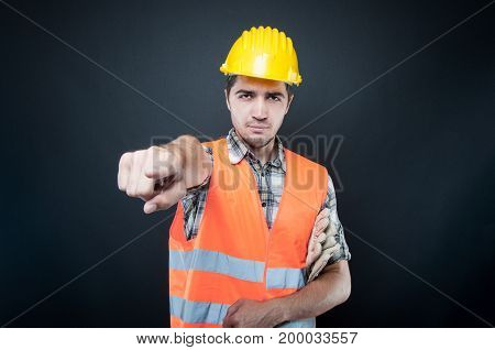 Handsome Constructor Wearing Equipment Pointing Camera