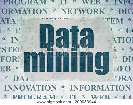 Information concept: Painted blue text Data Mining on Digital Data Paper background with   Tag Cloud