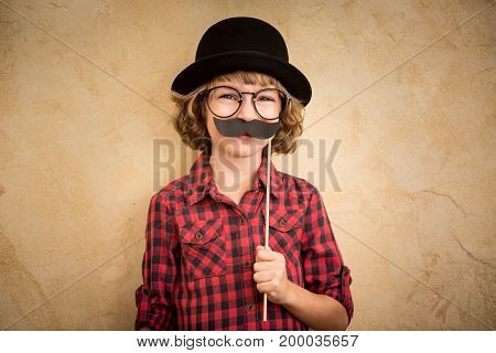 Funny Kid With Fake Mustache