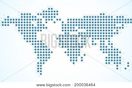 Abstract world map of dots on white background. Vector