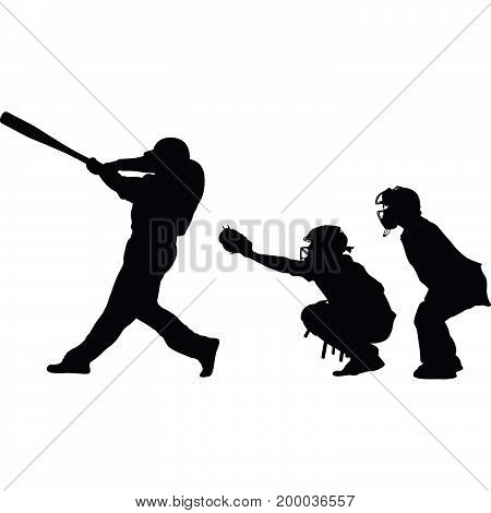 baseball batter catcher and umpire silhouette vector
