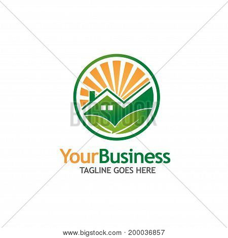 green house building logo Ecology Nature logo