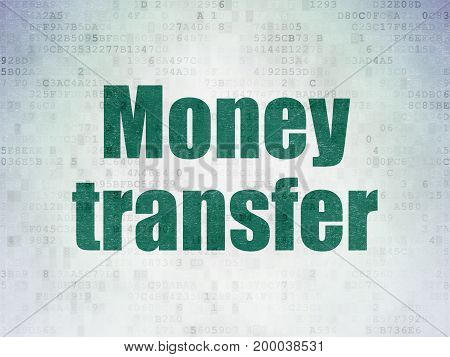 Banking concept: Painted green word Money Transfer on Digital Data Paper background