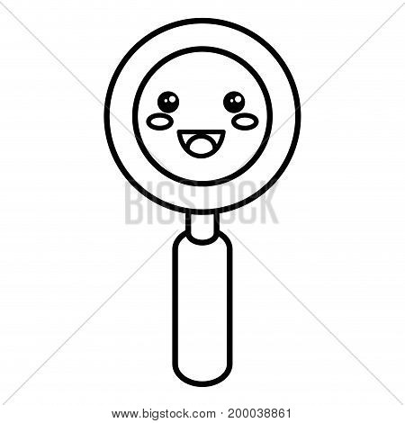 search magnifying glass kawaii character vector illustration design