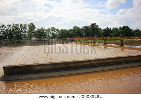 Small Dam In Ping River. For Increase Level Of Water To Canal For Agricultrue Area