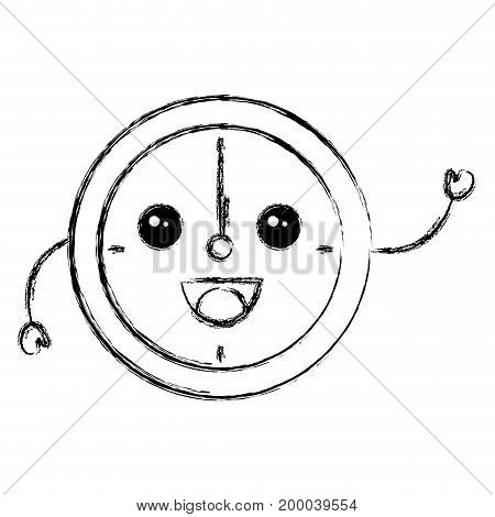 time clock kawaii character vector illustration design
