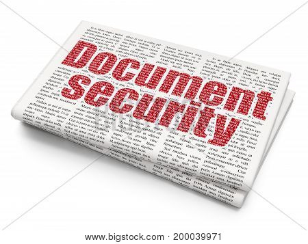 Protection concept: Pixelated red text Document Security on Newspaper background, 3D rendering