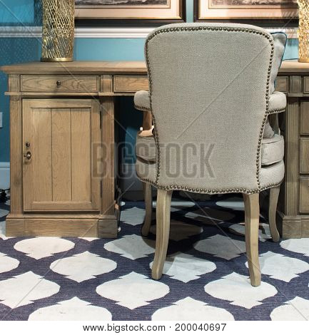 Bespoke Wooden Desk And Chair In Study