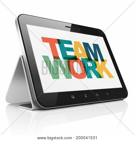 Finance concept: Tablet Computer with Painted multicolor text Teamwork on display, 3D rendering