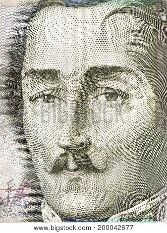 Francisco de Paula Santander portrait from Colombian money