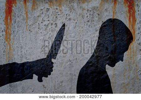 Shadow of man and hand with killing knife on bloody wall background. Illustration for criminal news and chronicles.