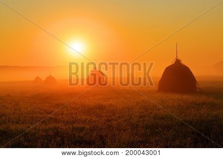 The bright disk of the sun illuminates with a warm orange light the mountain meadow where loose stacked hays built around a central pole stand which are shrouded in a light mist.