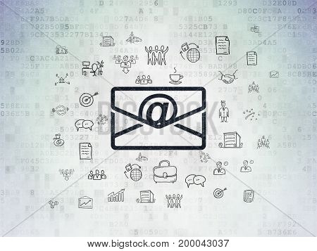 Finance concept: Painted black Email icon on Digital Data Paper background with  Hand Drawn Business Icons