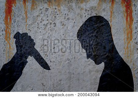 Silhouette of man and hand with killing knife on bloody wall background. Illustration for criminal news and chronicles.