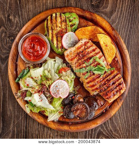 restaurant food, hot food, lunch food, steak, beef steak, chicken steak - Chicken steak witht salad, top view