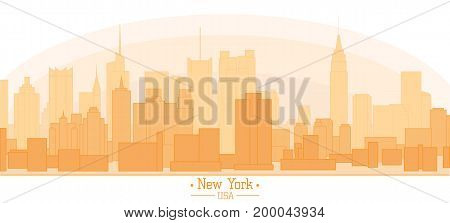 Linear banner of New York city buildings landmarks day skyline silhouette vector illustration. Cityscape orange half color Line art USA nyc modern flat panorama for project design banner travel poster