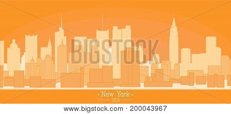 Linear banner of New York city buildings landmarks day skyline silhouette vector illustration. Cityscape orange color Line art USA nyc modern flat panorama for project design web banner travel poster