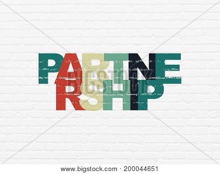 Finance concept: Painted multicolor text Partnership on White Brick wall background