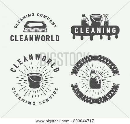 Set of retro cleaning logo badges emblems and labels in vintage style. Monochrome Graphic Art. Vector Illustration.