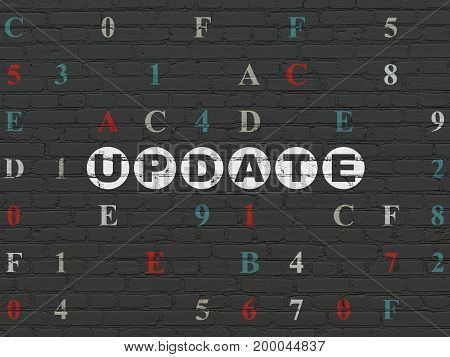 Web development concept: Painted white text Update on Black Brick wall background with Hexadecimal Code