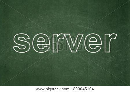 Web development concept: text Server on Green chalkboard background