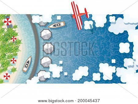 Maldives Summer Background with Tropical Beach, Palms, Hotel, Clouds and Airplane. Aerial View.