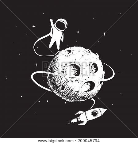 Cartoon astronaut with spaceship flying around the moon.Hand drawn vector illustration