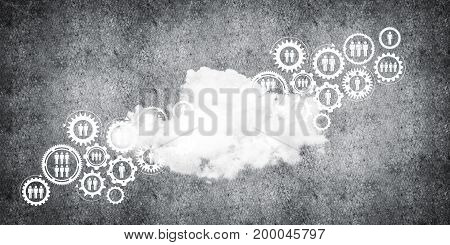 Background image with gears and cloud computing connection concept on concrete wall