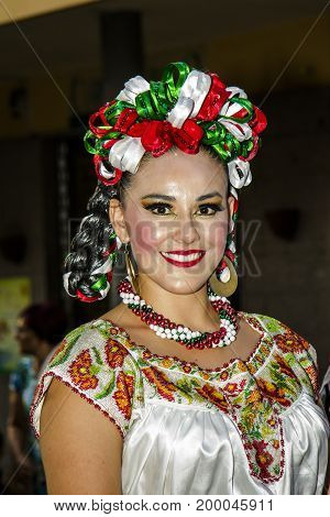 QUARTU S.E., ITALY - JULY 18, 2015: 29 Sciampitta - International Folklore Festival, Sardinia (folklore festival fiesta mexicana - Mexico)