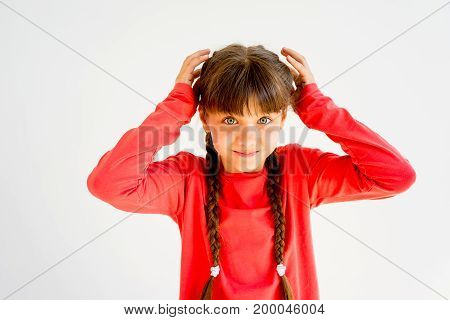 A portrait of a girl showing different emotions