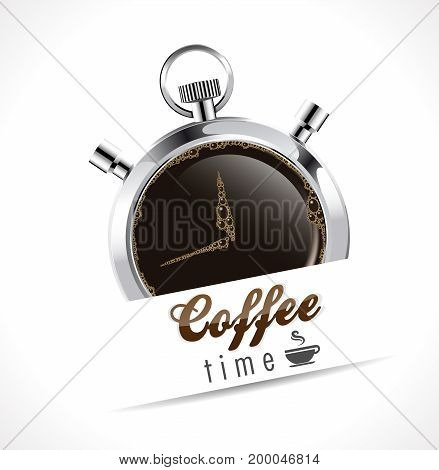 Stopwatch - Coffee time - stock illustration