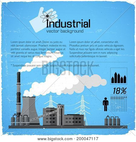 Industrial building with smokestacks electric lines and infografic elements on blue worn background vector illustration