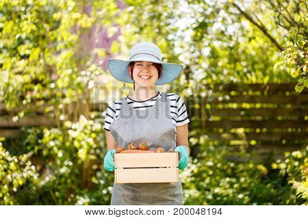 Photo of girl in glove holding potatoes in box