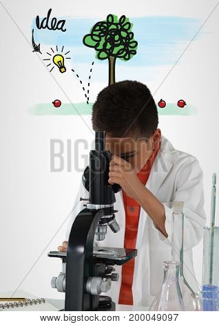 Digital composite of Schoolboy scientist in lab with colorful idea graphics