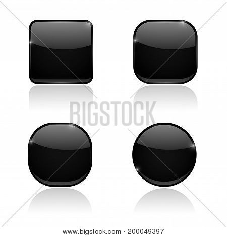 Set of black buttons. Web shiny 3d icons. Vector illustration on white background