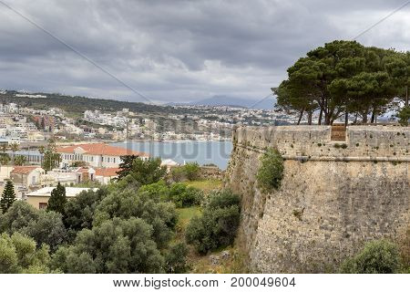 The panoramic views of the city, the castle and the sea (Greece, island Crete)