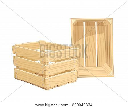 TWooden box. Pack Equipment for transportation cargo. Isolated white background. illustration. Wo. Vector illustration.
