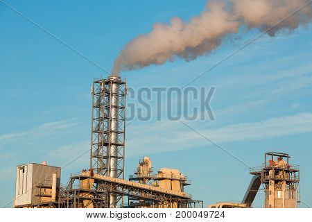 Exhaust from the plant to the atmosphere of the sky with a production plant