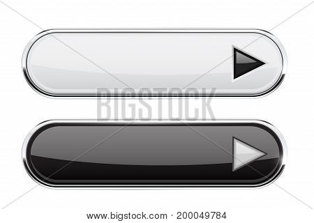 Black and white buttons with arrows. Menu interface elements. Vector 3d illustration on white background