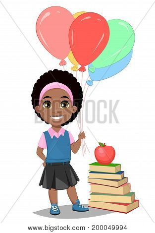 Back to school. Cute Afro-American girl in casual clothes with helium balloons standing near stack of book. Pretty little schoolgirl. Cheerful cartoon character. Vector illustration