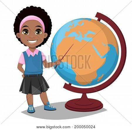 Back to school. Cute Afro-American girl points to the globe with a pointer. Pretty little schoolgirl. Cheerful cartoon character. Vector illustration