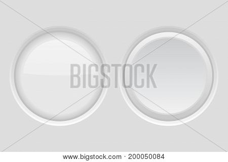 Round buttons. Light gray plastic push buttons. Normal and active. 3d Vector illustration