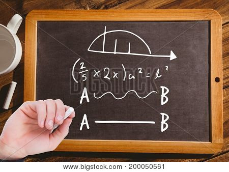 Digital composite of Hand writing math equations on blackboard with chalk