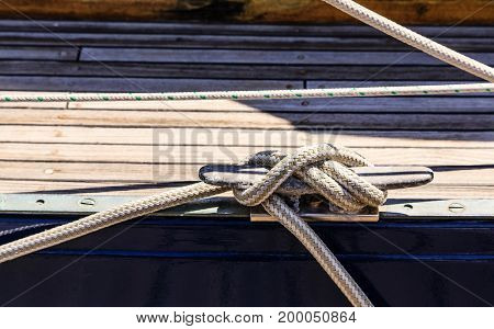 Nautical Line tied to Cleat on Dock