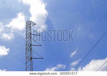 Steel power poles With blue sky on day ligth