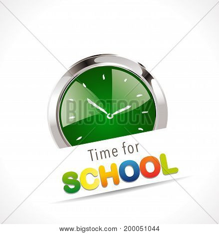 Stopwatch - Time for school - stock illustration