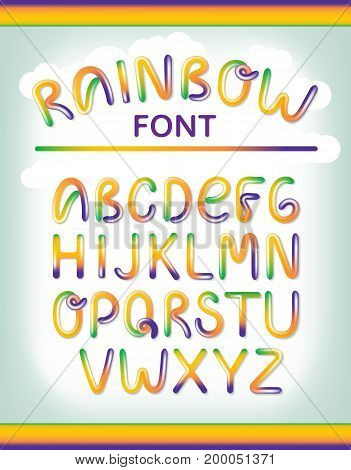 Funny colorful alphabet letters. Font style, vector design template elements for your application or corporate identity. Hand drawing rainbow colors letters
