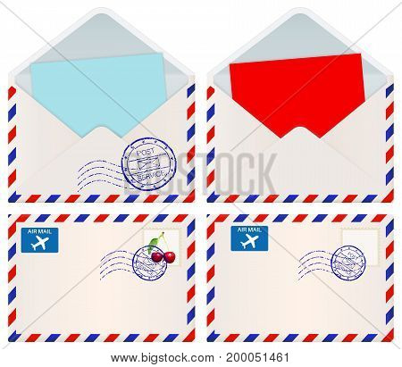 International mail envelopes. Vector 3d illustration isolated on white background