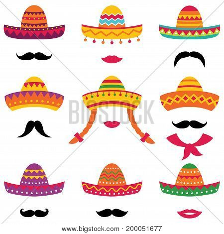 Traditional Mexican isolated sombrero hats, lips and mustache set