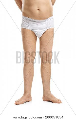 Legs of a mature man in underwear isolated on white background
